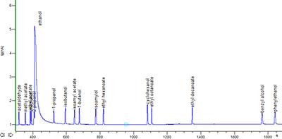 Рис. 1. Пример хроматограммы стандартной смеси летучих компонентов в этаноле.